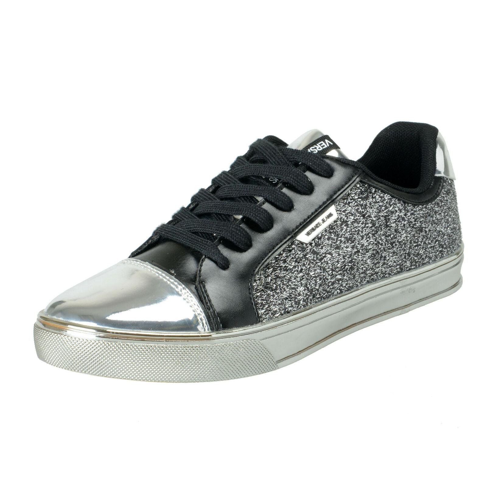 Versace Jeans Women's Sparkle Silver Fashion Sneakers shoes US 11 IT 41