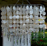 Solar Capiz Shell Windchimes/chandelier Oval White Capiz With 2 Solar Lights