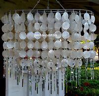 Solar Capiz Shell Windchimes/chandelier Oval White Capiz With 2 Solar Lights