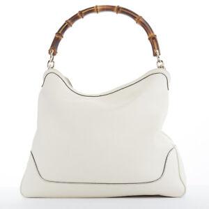 f57632b722773b GUCCI Diana cream pebbled leather bamboo handle 2 way shoulder bag ...