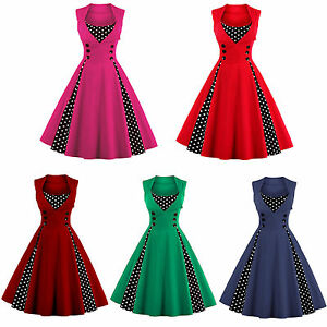 Women-Sleeveless-Long-Dress-Pinup-Rockabilly-Evening-Party-Retro-Polka-Dot-Dress