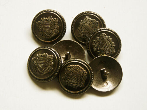 8pc 15mm German Russian Inspired Dark Steel Colour Metal military Button  2244