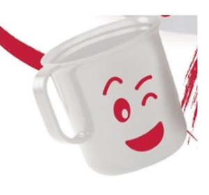 Tupperware Emoji Coffee Tea Mug White Red In Love Logo 11 Oz Wink
