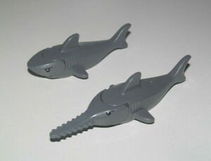 Lego-Pirates-Accessoire-Animal-Lot-x2-Requin-Gris-Normal-Scie-Shark-14518