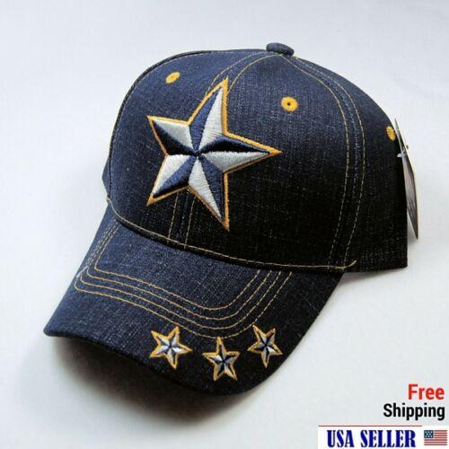 NWT LONE STAR 3D EMB.BASEBALL CAP//HAT Adjustable Back COLOR DENIM