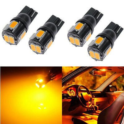 4x T10 921 High Power 5630 Chip SMD LED Yellow License Plate Light Bulb 12V New
