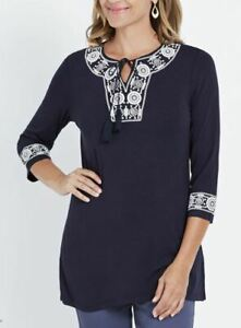 MILLERS-Blouse-Plus-Size-14-16-18-20-22-Top-Shirt-Navy-Blue-3-4-Sleeve-Tunic