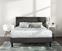 Queen Bed Frame Platform Wood Tufted Dark Gray Upholstered Bedroom Furniture
