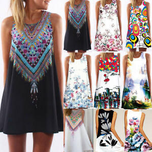 Women-Sleeveless-Summer-Boho-Printed-Beach-Casual-Loose-Beach-Mini-Shirt-Dress
