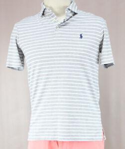99b41cefa Détails sur Polo Ralph Lauren Homme Gris Bruyère Polo T-Shirt Rayé Prix  D'Origine Neuf