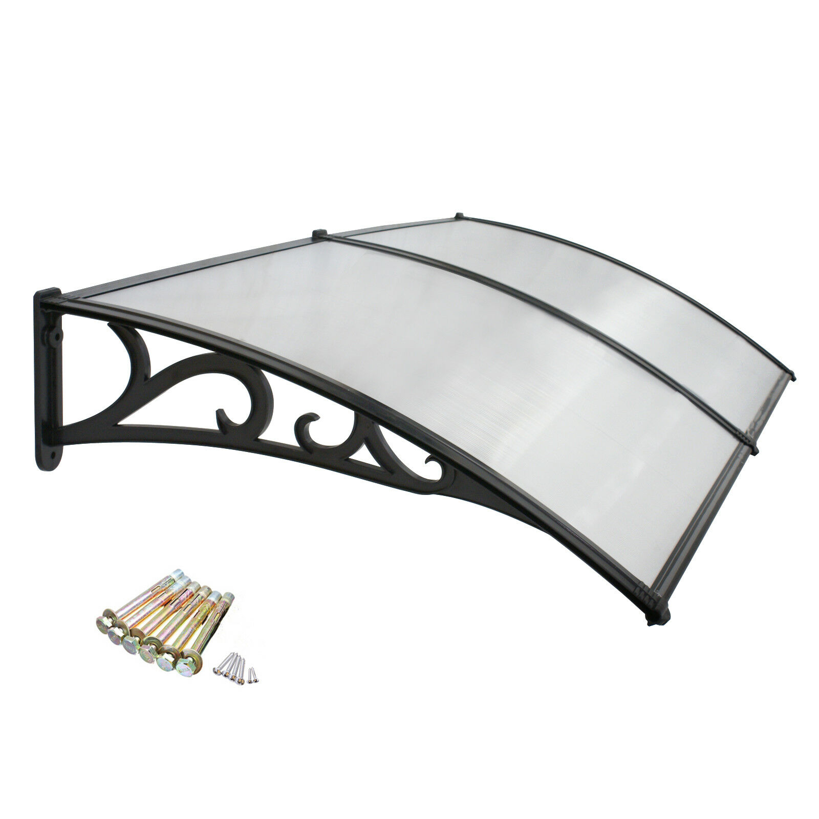 80″ x 40″ Window Canopy Awning Door Complete Polycarbonate Sheet Patio Outdoor Awnings & Canopies