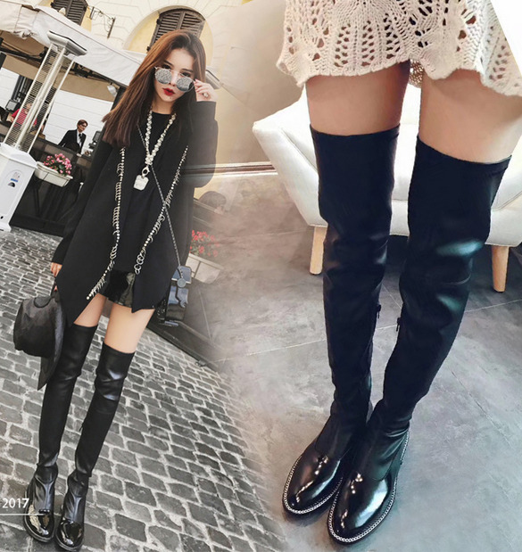 Women Patent Leather Metal Chain Over Knee Stretch Riding Boots Zip Shoes
