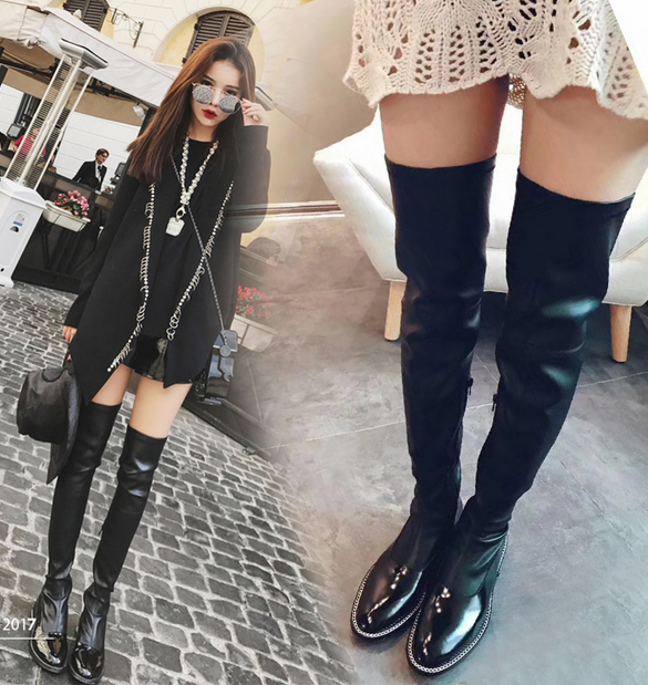 Women Patent Leather Metal Chain Over Knee Stretch Riding Boots Zip shoes B686