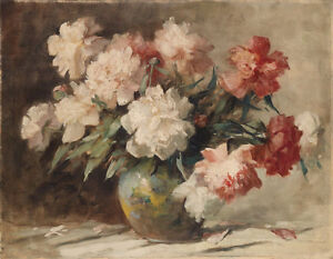 Hand painted canvas Oil painting beautiful still life peony flowers in nice vase