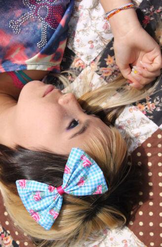 Picnic moña azul grande Cabello Moño Rockabilly 50s Land Girl país Dance Retro