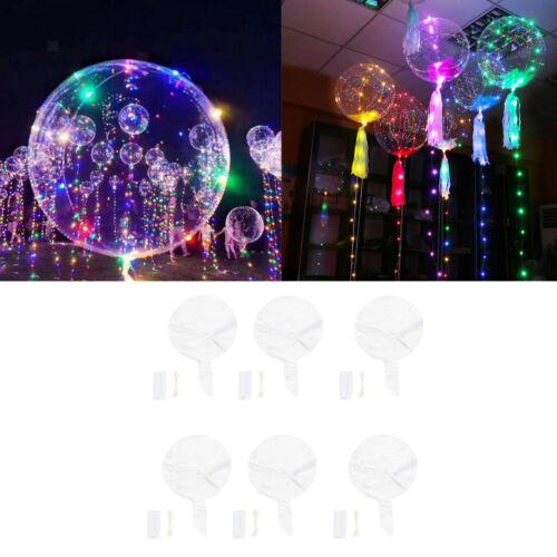"6xCreative Bobo Balloons Jumbo Latex Balloon Clear LED Transparent Round 18/"""