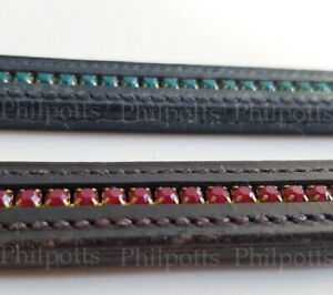 """Soft LEATHER BROWBAND for Bridle Bling Diamante Crystal Matt Stones 16.5/"""""""