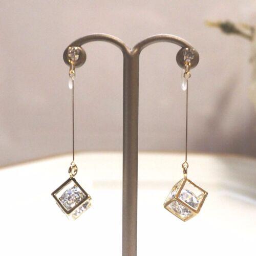 Dangle Zircon Cristal Invisible clip sur boucles d/'oreilles zircon cubique or clip-ons