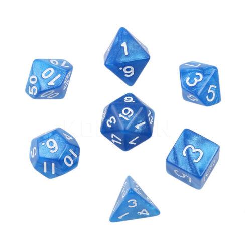 D20 Poly Dadi Set-Pearl Blue-Per Dungeons and Dragons /& Pathfinder RPG