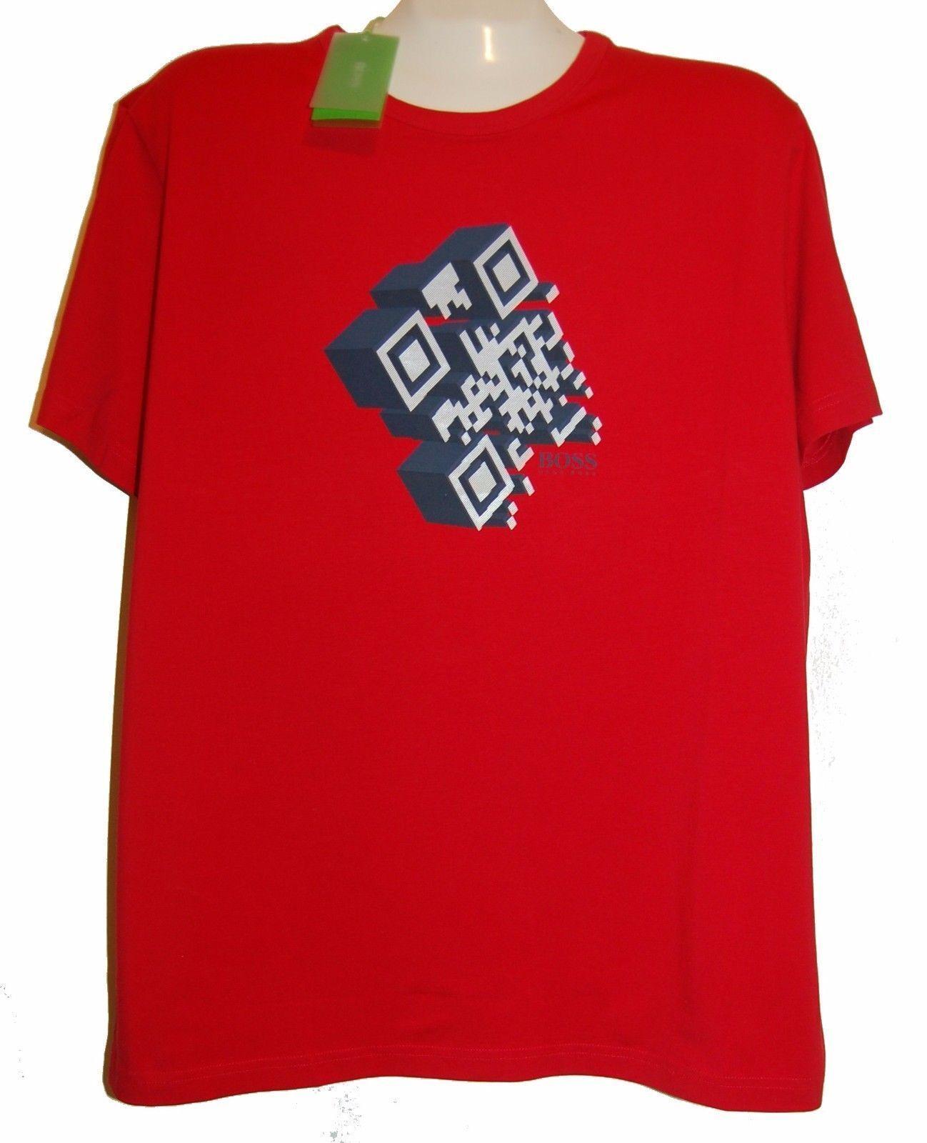 Hugo Boss Red Graphic Logo Design Cotton Men's T- Shirt Sz 2XL NEW Green Label