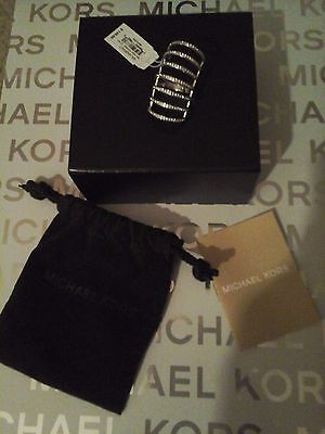 MICHAEL KORS MKJ4426 WOMENS SILVER PAVE BRILLIANCE CAGE RING SIZE 7 NEW! $145