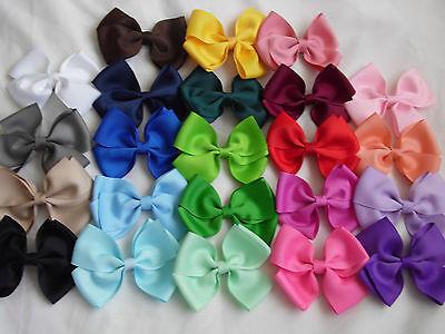 """4"""" BOW HAIR CLIP PIN ALIGATOR GIRL CLIPS GROSGRAIN RIBBON BOW FLOWER GIRL"""