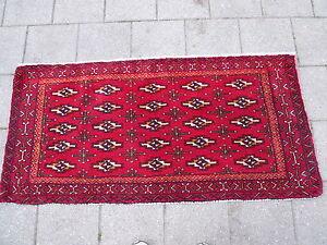 Vente Pas Cher Belle, Vieux Tapis Oriental__126cm X 60cm_ !