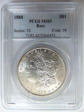 1888 Morgan Silver Dollar $1 PCGS MS 63 Bass Hoard Pedigree Graded Coin Toning