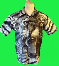 White tiger shirt lounge vintage leopard dork rock lmfao disco 80 animal print s