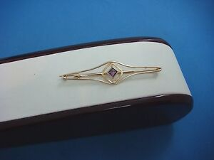 !BEAUTIFUL ANTIQUE 10K YELLOW GOLD BROOCH WITH AMETHYST 2.5 GRAMS 55 MM LONG