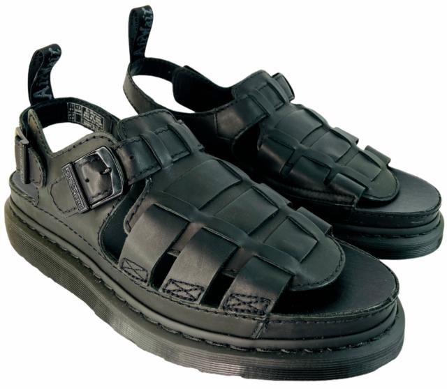 Dr. Martens Mens 8092 Arc Mono Black Leather Slingback Sandals Size 13 New