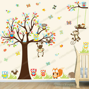 Image Is Loading Jungle Animals Monkey Owl Tree Kids Art Decor