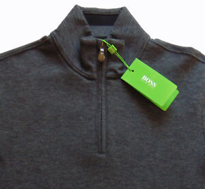 a5bb34c6a Men's HUGO BOSS Heather Gray Zip Cotton + Pullover Sweater L Large ...