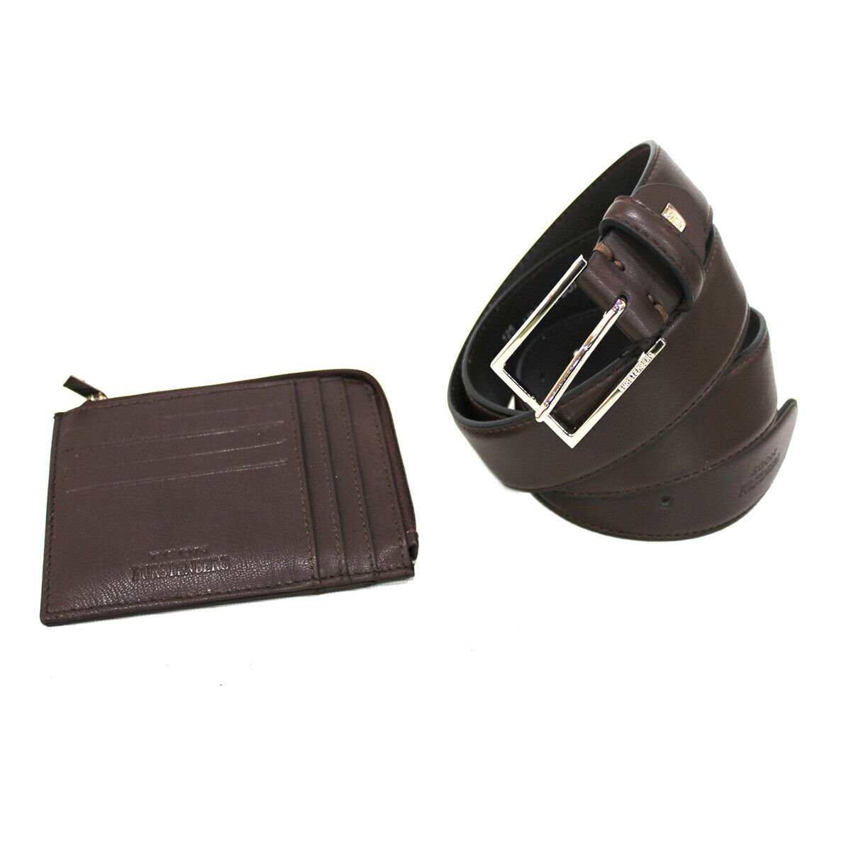 Men's set faux leather belt 35 mm high size 125 and leather keychain in box brwn