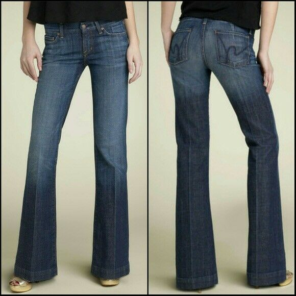 CITIZENS OF HUMANITY FAYE LOW WAIST FULL LEG MEDIUM WASH JEANSSIZE 30