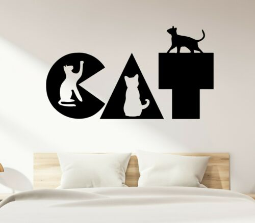 ed2026 Details about  /Wall Decal Cat Word Pets Kittens Decor Vinyl Sticker