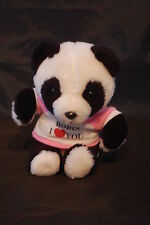 "Panda Bear Robin I Love You T Shirt White Pink Vintage Swib Industries Plush 6"""