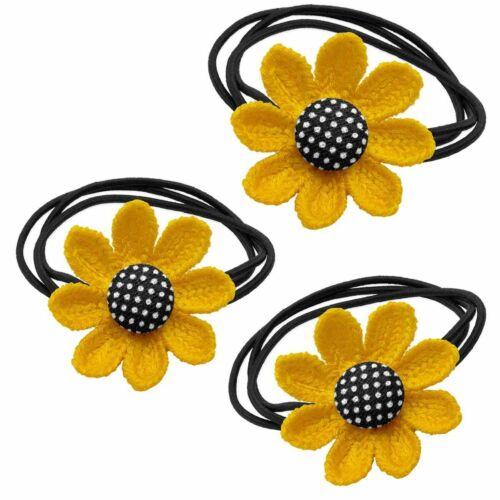 3 Chouchou Fleur Zopfband zopfhalter Fleur Tricote Jaune Noir haarblume