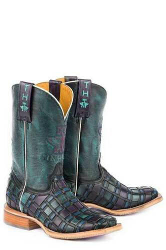 Ladies Womens TIN HAUL Multi Color Rose Weave Square Toe Leather Cowboy Boots