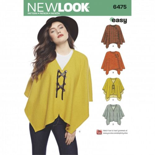 New Look Ladies Easy Sewing Pattern 6475 Poncho Tops /& Cape NewLook-6475