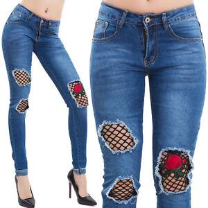 Jeans-donna-pantaloni-skinny-denim-strappi-rete-fiori-aderenti-slim-nuovi-A102