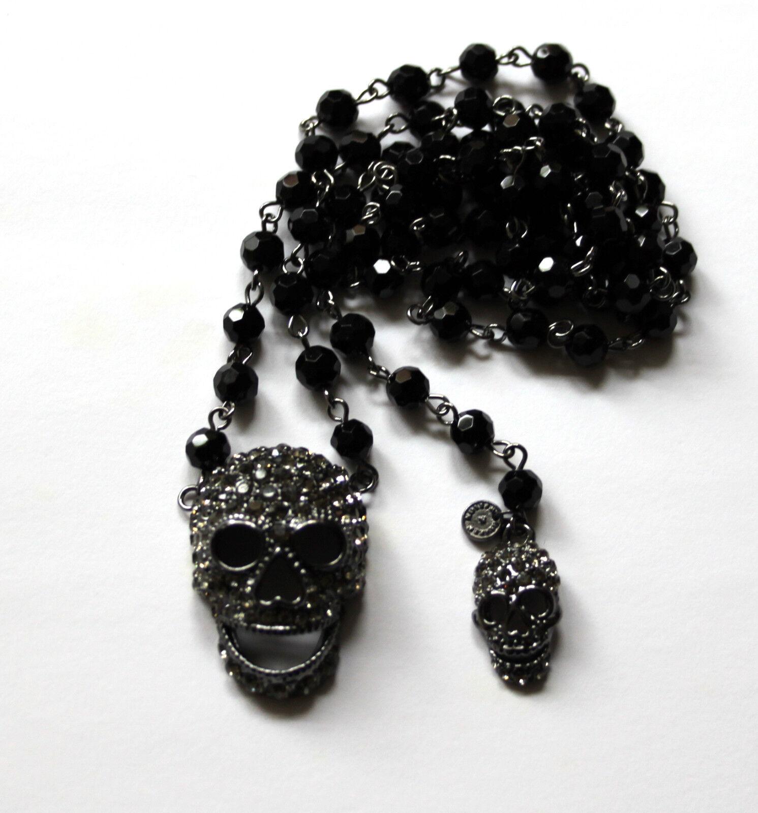 Butler & Wilson 2 Zinn Kristallschädel Lang Perlenbesetzt pinknkranz Halskette