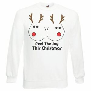 Unisex-Christmas-Jumper-Feel-The-Warmth-Rudolph-Boobs-Funny-Sweatshirt
