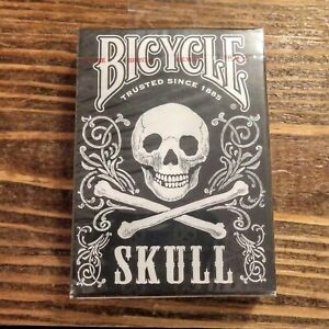 Skull-Bicycle-Playing-Cards-Black-White-Deck-2012-Made-in-USA-Rare-NEW