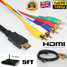 5ft Full HD 1080P HDMI Male to 5 RCA RGB Audio Video AV Adapter Component Cable