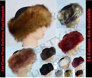 0d283f15fd2 Ladies Russian    FOX    Faux Fake Fur Hat HeadBand Winter Earwarmer ...