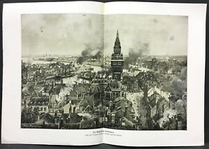 France-Beschiesung-Dunkirk-Military-WK1-Art-Print-Schmidt-W-4091