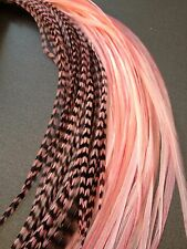 Lot 10 Grizzly Feathers Hair Extensions long thin skinny striped Real BABY PINK