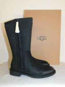 73325fdfbfc Details about NEW WOMENS 5 BLACK UGG ELLY 1017505 NUBUCK LEATHER WOOL LINED  FULL ZIP BOOTS
