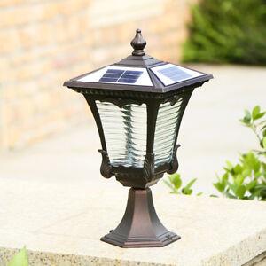 Retro-Outdoor-Solar-Pillar-Light-LED-2-Colors-Metal-Lantern-Glass-Gate-Post-Lamp